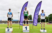 26 June 2021; Men's 400m Hurdles medallists, from left, Jack Mitchell of St Laurence O'Toole AC, Carlow, silver, Thomas Barr of Ferrybank AC, Waterford, gold, and Alan Miley of St Laurence O'Toole AC, Carlow, bronze, during day two of the Irish Life Health National Senior Championships at Morton Stadium in Santry, Dublin. Photo by Sam Barnes/Sportsfile