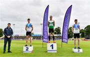 26 June 2021; Minister of State for Sport and the Gaeltacht Jack Chambers, far left, with Men's 400m Hurdles medallists, from left, Jack Mitchell of St Laurence O'Toole AC, Carlow, silver, Thomas Barr of Ferrybank AC, Waterford, gold, and Alan Miley of St Laurence O'Toole AC, Carlow, bronze, during day two of the Irish Life Health National Senior Championships at Morton Stadium in Santry, Dublin. Photo by Sam Barnes/Sportsfile