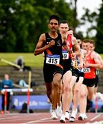 26 June 2021; Efrem Gidey of Clonliffe Harriers AC, Dublin, competing in the Men's 5000m during day two of the Irish Life Health National Senior Championships at Morton Stadium in Santry, Dublin. Photo by Sam Barnes/Sportsfile