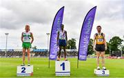 26 June 2021; Men's 5000m medallists, from left, Sean Tobin of Clonmel AC, Tipperary, silver, Hiko Haso Tonosa of Dundrum South Dublin AC, gold, and Neil Johnston of Annadale Striders, bronze,during day two of the Irish Life Health National Senior Championships at Morton Stadium in Santry, Dublin. Photo by Sam Barnes/Sportsfile