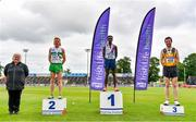 26 June 2021; Former Athletics Ireland President Georgina Drumm, left, with Men's 5000m medallists, from left, Sean Tobin of Clonmel AC, Tipperary, silver, Hiko Haso Tonosa of Dundrum South Dublin AC, gold, and Neil Johnston of Annadale Striders, bronze,during day two of the Irish Life Health National Senior Championships at Morton Stadium in Santry, Dublin. Photo by Sam Barnes/Sportsfile
