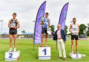 26 June 2021; Men's 1500m medallists, from left, Cathal Doyle of Clonliffe Harriers AC, Dublin, silver, Andrew Coscoran of Star of the Sea AC, Meath, gold, Kevin Kelly of St. Coca's AC, Kildare, bronze, as Willie Smith presents the cup during day two of the Irish Life Health National Senior Championships at Morton Stadium in Santry, Dublin. Photo by Sam Barnes/Sportsfile
