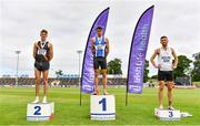 26 June 2021; Men's 1500m medallists, from left, Cathal Doyle of Clonliffe Harriers AC, Dublin, silver, Andrew Coscoran of Star of the Sea AC, Meath, gold, Kevin Kelly of St. Coca's AC, Kildare, bronze, during day two of the Irish Life Health National Senior Championships at Morton Stadium in Santry, Dublin. Photo by Sam Barnes/Sportsfile