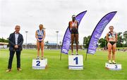 26 June 2021; Irish Life Health Managing Director Gerard Davis with Women's 100m medallists, from left, Molly Scott of St Laurence O'Toole AC, Carlow, silver, Rhasidat Adeleke of Tallaght AC, Dublin, gold, and Aoife Lynch of Donore Harriers, Dublin, bronze, during day two of the Irish Life Health National Senior Championships at Morton Stadium in Santry, Dublin. Photo by Sam Barnes/Sportsfile