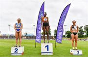 26 June 2021; Women's 100m medallists, from left, Molly Scott of St Laurence O'Toole AC, Carlow, silver, Rhasidat Adeleke of Tallaght AC, Dublin, gold, and Aoife Lynch of Donore Harriers, Dublin, bronze, during day two of the Irish Life Health National Senior Championships at Morton Stadium in Santry, Dublin. Photo by Sam Barnes/Sportsfile
