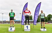 26 June 2021; Men's Weight for Distance medallists, from left, John Dwyer of Templemore AC, Tipperary, silver, Sean Breathnach of Galway City Harriers AC, Gold, and Michael Healy of Youghal AC, Cork, bronze, during day two of the Irish Life Health National Senior Championships at Morton Stadium in Santry, Dublin. Photo by Sam Barnes/Sportsfile