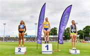 26 June 2021; Women's 1500m medallists, from left, Nadia Power of Dublin City Harriers AC, silver, Sarah Healy of UCD AC, Dublin, gold, and Roisin Flanagan of Carmen Runners AC, Tyrone, bronze, during day two of the Irish Life Health National Senior Championships at Morton Stadium in Santry, Dublin. Photo by Sam Barnes/Sportsfile