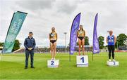 26 June 2021; Minister of State for Sport and the Gaeltacht Jack Chambers, with Women's 400m medallists, from left, Cliodhna Manning of Kilkenny City Harriers AC, silver, Phil Healy of Bandon AC, Cork, gold, and Catherine McManus of Dublin City Harriers AC, bronze, during day two of the Irish Life Health National Senior Championships at Morton Stadium in Santry, Dublin. Photo by Sam Barnes/Sportsfile