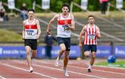 26 June 2021; Cillin Greene of Galway City Harriers AC, centre, on his way to winning the Men's 400m during day two of the Irish Life Health National Senior Championships at Morton Stadium in Santry, Dublin. Photo by Sam Barnes/Sportsfile