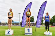 26 June 2021; Women's 400m medallists, from left, Cliodhna Manning of Kilkenny City Harriers AC, silver, Phil Healy of Bandon AC, Cork, gold, and Catherine McManus of Dublin City Harriers AC, bronze, during day two of the Irish Life Health National Senior Championships at Morton Stadium in Santry, Dublin. Photo by Sam Barnes/Sportsfile