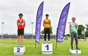 26 June 2021; Men's Pole Vault Medallists, from left, Michael Bowler of Enniscorthy AC, Wexford, silver, Conor Callinan Keenan of Leevale AC, Cork, gold, and Shane Power of St. Joseph's AC, Kilkenny, bronze, during day two of the Irish Life Health National Senior Championships at Morton Stadium in Santry, Dublin. Photo by Sam Barnes/Sportsfile