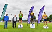 26 June 2021; Tullamore Harriers Chairman Adrian Curley, far left, and Athletics Ireland Preident John Cronin with Men's 100m medallists, from left, Stephen Gaffney of Rathfarnham WSAF AC, Dublin, silver, Israel Olatunde of UCD AC, Dublin, gold, and Conor Morey of Leevale AC, Cork, bronze, during day two of the Irish Life Health National Senior Championships at Morton Stadium in Santry, Dublin. Photo by Sam Barnes/Sportsfile