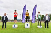 26 June 2021; Irish Life Health Managing Director Gerard Davis, left, and Athletics Ireland President John Cronin, right, with Men's Pole Vault Medallists, from left, Michael Bowler of Enniscorthy AC, Wexford, silver, Conor Callinan Keenan of Leevale AC, Cork, gold, and Shane Power of St. Joseph's AC, Kilkenny, bronze, during day two of the Irish Life Health National Senior Championships at Morton Stadium in Santry, Dublin. Photo by Sam Barnes/Sportsfile