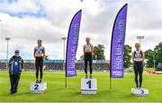 27 June 2021; Athletics Ireland Official Brian Dowling with Women's Triple Jump Medallists, from left, Grace Furlong of Waterford AC, silver, Saragh Buggy of St Abbans AC, Carlow, gold, and  Aisling MacHugh of Naas AC, Kildare, bronze, during day three of the Irish Life Health National Senior Championships at Morton Stadium in Santry, Dublin. Photo by Sam Barnes/Sportsfile