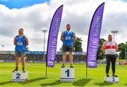 27 June 2021; Men's Shot Put Medallists, from left, James Kelly of Finn Valley AC, Donegal, silver, Gavin McLaughlin of Finn Valley AC, Donegal, gold, and Sean Breathnach of Galway City Harriers, bronze, during day three of the Irish Life Health National Senior Championships at Morton Stadium in Santry, Dublin. Photo by Sam Barnes/Sportsfile