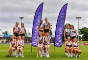 26 June 2021; Women's 4x100m relay medallists, from left, Crusaders AC, Dublin, silver, Dundrum South Dublin AC, gold, and Donore Harriers AC, bronze, during day two of the Irish Life Health National Senior Championships at Morton Stadium in Santry, Dublin. Photo by Sam Barnes/Sportsfile