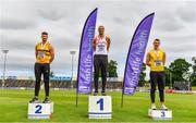 26 June 2021; Men's Long Jump medallists, from left, Sam Healy of Leevale AC, Cork, silver, Adam McMullen of Crusaders AC, Dublin, gold, and Shane Howard of Bandon AC, Cork, bronze, during day two of the Irish Life Health National Senior Championships at Morton Stadium in Santry, Dublin. Photo by Sam Barnes/Sportsfile