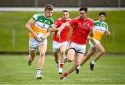 27 June 2021; David Dempsey of Offaly in action against Ciaran Downey of Louth during the Leinster GAA Football Senior Championship Round 1 match between Louth and Offaly at Páirc Tailteann in Navan, Meath. Photo by David Fitzgerald/Sportsfile