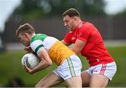 27 June 2021; David Dempsey of Offaly in action against Sam Mulroy of Louth during the Leinster GAA Football Senior Championship Round 1 match between Louth and Offaly at Páirc Tailteann in Navan, Meath. Photo by David Fitzgerald/Sportsfile