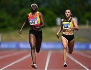 27 June 2021; Rhasidat Adeleke of Tallaght AC, Dublin, left, and Phil Healy of Bandon AC, Cork, competing in the Women's 200m during day three of the Irish Life Health National Senior Championships at Morton Stadium in Santry, Dublin. Photo by Sam Barnes/Sportsfile