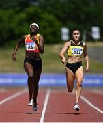 27 June 2021;  Phil Healy of Bandon AC, Cork, right, on her way to winning the Women's 200m, ahead of Rhasidat Adeleke of Tallaght AC, Dublin, left, who finished second, during day three of the Irish Life Health National Senior Championships at Morton Stadium in Santry, Dublin. Photo by Sam Barnes/Sportsfile