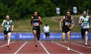 27 June 2021; Leon Reid of Menapians AC, Wexford, second from left, on his way to winning the Men's 200m, ahead of Mark Smyth of Raheny Shamrock AC, Dublin, far right, who finished second, and Marcus Lawler of Clonliffe Harriers AC, Dublin, second from right who finished third, during day three of the Irish Life Health National Senior Championships at Morton Stadium in Santry, Dublin. Photo by Sam Barnes/Sportsfile