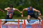 27 June 2021; Gerard O'Donnell of Carrick-on-Shannon AC, Leitrim, right, on his way to winning the Men's 110m Hurdles, ahead of Matthew Behan of Crusaders AC, Dublin, who finished second, during day three of the Irish Life Health National Senior Championships at Morton Stadium in Santry, Dublin. Photo by Sam Barnes/Sportsfile