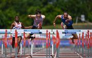 27 June 2021; Gerard O'Donnell of Carrick-on-Shannon AC, Leitrim, right, on his way to winning the Men's 110m Hurdles, ahead of Matthew Behan of Crusaders AC, Dublin, second from left, who finished second, during day three of the Irish Life Health National Senior Championships at Morton Stadium in Santry, Dublin. Photo by Sam Barnes/Sportsfile
