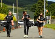27 June 2021; Kildare captain Grace Clifford, centre, arrives with her team-mates Siobhan O'Sullivan, left, and Lauren Murtagh before the Lidl Ladies Football National League Division 3 Final match between Kildare and Laois at Baltinglass GAA Club in Baltinglass, Wicklow. Photo by Matt Browne/Sportsfile