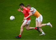 27 June 2021; Dan Corcoran of Louth in action against David Dempsey of Offaly during the Leinster GAA Football Senior Championship Round 1 match between Louth and Offaly at Páirc Tailteann in Navan, Meath. Photo by David Fitzgerald/Sportsfile
