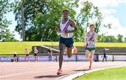 27 June 2021; Hiko Haso Tonosa of Dundrum South Dublin AC, left, on his way to winning the Men's 10000m during day three of the Irish Life Health National Senior Championships at Morton Stadium in Santry, Dublin. Photo by Sam Barnes/Sportsfile