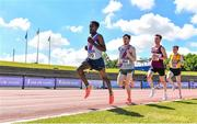 27 June 2021; Hiko Haso Tonosa of Dundrum South Dublin AC, left, leads the field on his way to winning the Men's 10000m during day three of the Irish Life Health National Senior Championships at Morton Stadium in Santry, Dublin. Photo by Sam Barnes/Sportsfile