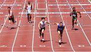 27 June 2021; Gerard O'Donnell of Carrick-on-Shannon AC, Leitrim, second from right, on his way to winning the Men's 110m Hurdles, ahead of Matthew Behan of Crusaders AC, Dublin, third from left, who finished second, during day three of the Irish Life Health National Senior Championships at Morton Stadium in Santry, Dublin. Photo by Sam Barnes/Sportsfile