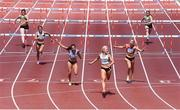 27 June 2021; Sarah Lavin of Emerald AC, Limerick, after winning the Women's 100m Hurdles, ahead of Kate Doherty of Dundrum South Dublin AC, third from left, who finished second, and Lilly-Ann O'Hora of Dooneen AC, Limerick, second from right, who finished third, during day three of the Irish Life Health National Senior Championships at Morton Stadium in Santry, Dublin. Photo by Sam Barnes/Sportsfile