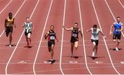 27 June 2021; Leon Reid of Menapians AC, Wexford, third from left, celebrates winning the Men's 200m, ahead of Mark Smyth of Raheny Shamrock AC, Dublin, second from right, who finished second, and Marcus Lawler of Clonliffe Harriers AC, Dublin, third from right who finished third, during day three of the Irish Life Health National Senior Championships at Morton Stadium in Santry, Dublin. Photo by Sam Barnes/Sportsfile