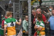 27 June 2021; Niall Darby of Offaly is congratulated by supporters following the Leinster GAA Football Senior Championship Round 1 match between Louth and Offaly at Páirc Tailteann in Navan, Meath. Photo by David Fitzgerald/Sportsfile