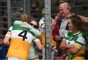 27 June 2021; Niall Darby of Offaly hugs his girlfriend Nicola O'Connor following the Leinster GAA Football Senior Championship Round 1 match between Louth and Offaly at Páirc Tailteann in Navan, Meath. Photo by David Fitzgerald/Sportsfile