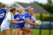 27 June 2021; Eva Galvin of Laois in action against  Lara Gilbert and Laoise Lenehan of Kildare during the Lidl Ladies Football National League Division 3 Final match between Kildare and Laois at Baltinglass GAA Club in Baltinglass, Wicklow. Photo by Matt Browne/Sportsfile