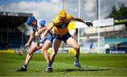 27 June 2021; David Fitzgerald of Clare in action against Austin Gleeson of Waterford during the Munster GAA Hurling Senior Championship Quarter-Final match between Waterford and Clare at Semple Stadium in Thurles, Tipperary. Photo by Stephen McCarthy/Sportsfile