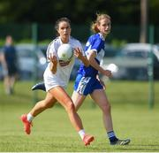 27 June 2021; Grace Clifford of Kildare in action against Joyce Dunne of Laois during the Lidl Ladies Football National League Division 3 Final match between Kildare and Laois at Baltinglass GAA Club in Baltinglass, Wicklow. Photo by Matt Browne/Sportsfile
