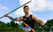 27 June 2021; Stephen Rice of Clonliffe Harriers AC, Dublin, competing in the Men's Javelin during day three of the Irish Life Health National Senior Championships at Morton Stadium in Santry, Dublin. Photo by Sam Barnes/Sportsfile