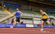 27 June 2021; Eanna Madden of Carrick-on-Shannon AC, Leitrim, left, and Adam Murphy of Tinryland AC, Carlow, right, competing in the Men's 200m heats during day three of the Irish Life Health National Senior Championships at Morton Stadium in Santry, Dublin. Photo by Sam Barnes/Sportsfile