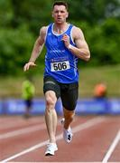 27 June 2021; Eanna Madden of Carrick-on-Shannon AC, Leitrim, competing in the Men's 200m heats during day three of the Irish Life Health National Senior Championships at Morton Stadium in Santry, Dublin. Photo by Sam Barnes/Sportsfile