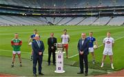 29 June 2021; Summer 2021 is officially on! In attendance during the AIB GAA All-Ireland Senior Football Championship launch at Croke Park, are, from left, Ryan O'Donoghue, Belmullet and Mayo, Conor Sweeney, Ballyporeen and Tipperary, AIB Group plc CEO Colin Hunt, Commercial Director of the GAA and Croke Park Stadium Director Peter McKenna, Paul Donaghy, Dungannon Thomas Clarkes and Tyrone, Uachtarán Chumann Lúthchleas Gael Larry McCarthy, Padraig Faulkner, Kingscourt Stars and Cavan and Daniel Flynn, Johnstownbridge and Kildare. Photo by Brendan Moran/Sportsfile