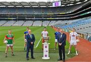 29 June 2021; Summer 2021 is officially on! In attendance during the AIB GAA All-Ireland Senior Football Championship launch at Croke Park, are, from left, Ryan O'Donoghue, Belmullet and Mayo, Conor Sweeney, Ballyporeen and Tipperary, AIB Group plc CEO Colin Hunt, Paul Donaghy, Dungannon Thomas Clarkes and Tyrone, Uachtarán Chumann Lúthchleas Gael Larry McCarthy, Padraig Faulkner, Kingscourt Stars and Cavan and Daniel Flynn, Johnstownbridge and Kildare. Photo by Brendan Moran/Sportsfile