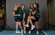 29 June 2021; The Team Ireland Hockey squad who will travel to the Tokyo Olympic Games was named this week. Here are, from left, Ayeisha McFerran, Roisin Upton, Lena Tice and Deirdre Duke pictured on the day they collected their Olympic kit, at an event which included an emotional video message from the friends and family who will be supporting them from Ireland. Photo by Brendan Moran/Sportsfile