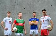 29 June 2021; Summer 2021 is officially on! In attendance during the AIB GAA All-Ireland Senior Football Championship launch at Croke Park in Dublin are, from left, Conor Sweeney, Ballyporeen and Tipperary, Ryan O'Donoghue, Belmullet and Mayo, Daniel Flynn, Johnstownbridge and Kildare, and Paul Donaghy, Dungannon Thomas Clarkes and Tyrone s AIB celebrated the return of summer football and the reignition of county rivalries nationwide ahead of some of #TheToughest games of the year. Photo by Eóin Noonan/Sportsfile
