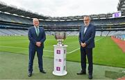 29 June 2021; Summer 2021 is officially on! In attendance during the AIB GAA All-Ireland Senior Football Championship launch at Croke Park in Dublin are AIB Group plc CEO Colin Hunt, left, and Uachtarán Chumann Lúthchleas Gael Larry McCarthy as AIB celebrated the return of summer football and the reignition of county rivalries nationwide ahead of some of #TheToughest games of the year. Photo by Brendan Moran/Sportsfile