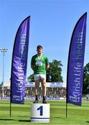 27 June 2021; Junior Men's Weight for Height gold medallist Patrick Corrigan of Suncroft AC, Kildare, during day three of the Irish Life Health National Senior Championships at Morton Stadium in Santry, Dublin. Photo by Sam Barnes/Sportsfile