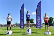 27 June 2021; Men's 110m Hurdles medallists, from left, Matthew Behan of Crusaders AC, Dublin, silver, Gerard O'Donnell of Carrick-on-Shannon AC, Leitrim, gold, and Iarlaith Golding of St Colmans South Mayo AC, bronze, during day three of the Irish Life Health National Senior Championships at Morton Stadium in Santry, Dublin. Photo by Sam Barnes/Sportsfile